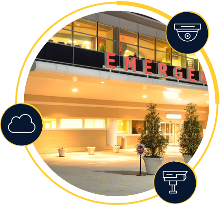 Emergency room entrance with icons