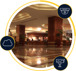 Hotel lobby with icon overlays