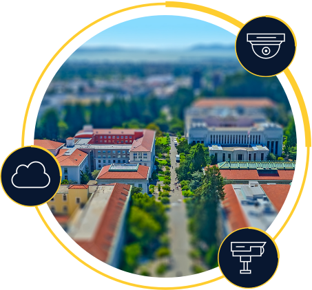 Aerial image of campus with icon overlay